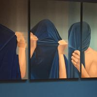 Series of paintings of person with head covered by blue sheet - hands tearing at sheet